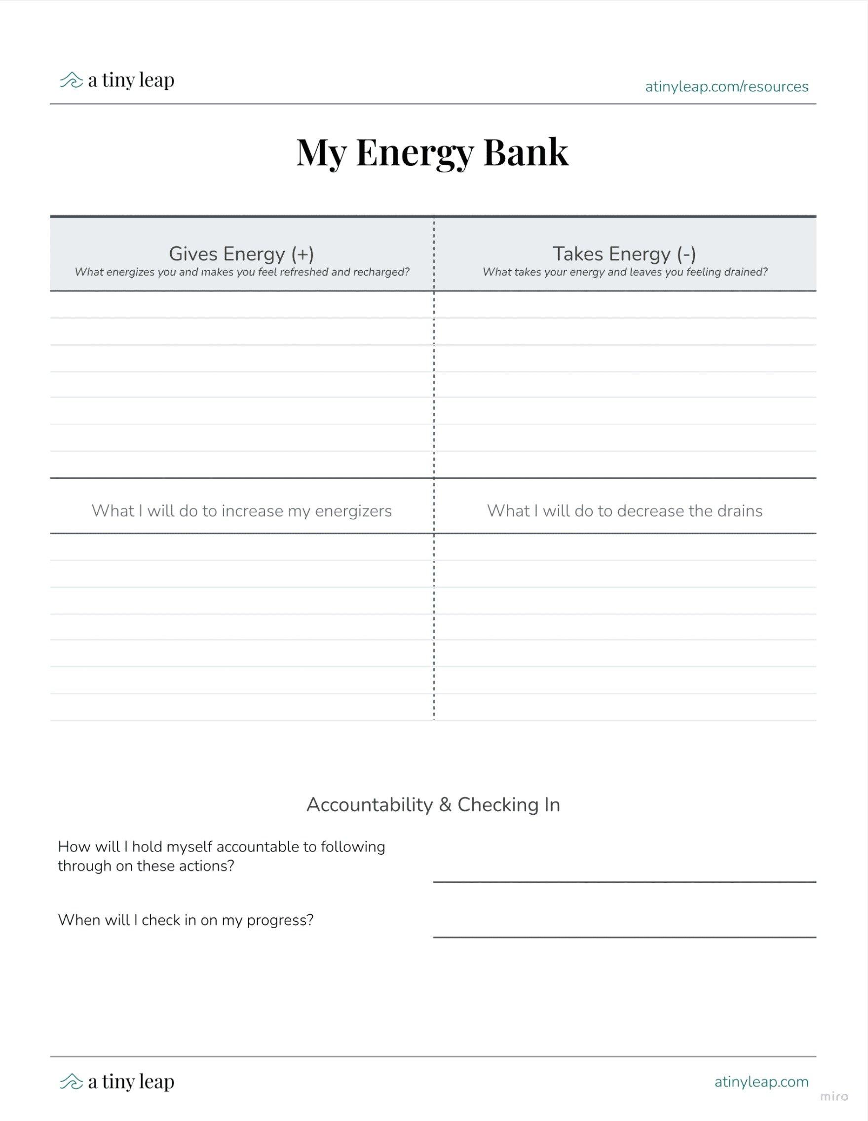 Energy Bank worksheet